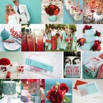 Red and Tiffany Blue Wedding